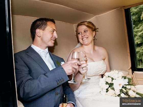 bryllupsbillede brudepar i hestevogn skåler