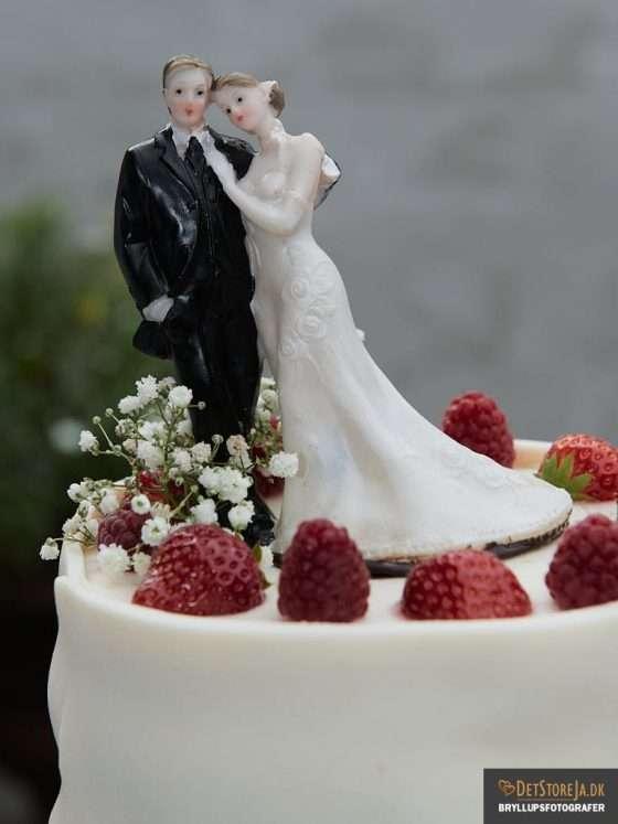 bryllupsbillede brudepar på kage