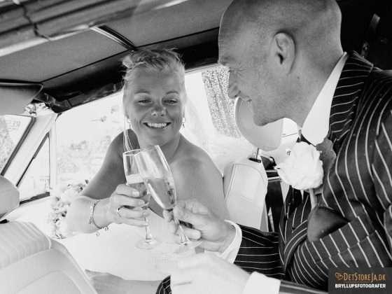 bryllupsbillede brudepar skåler i champagne