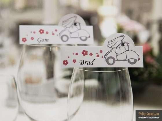 bryllup borddækning gom brud bordkort
