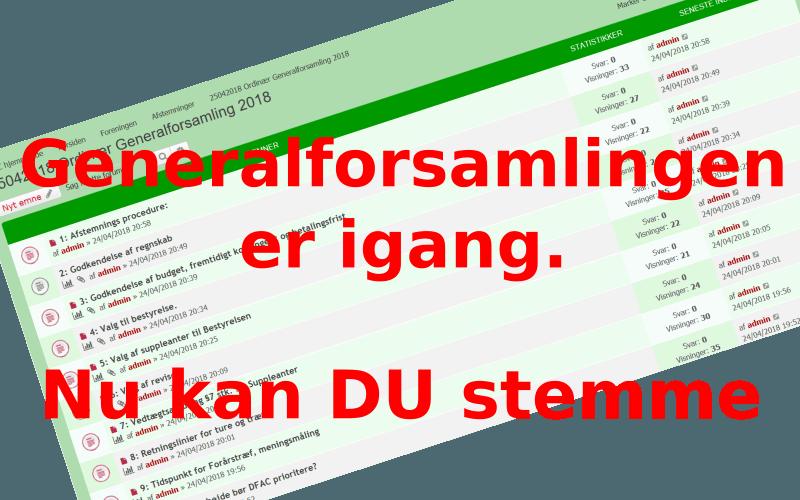 DFAC Generalforsamling 2018 er igang.