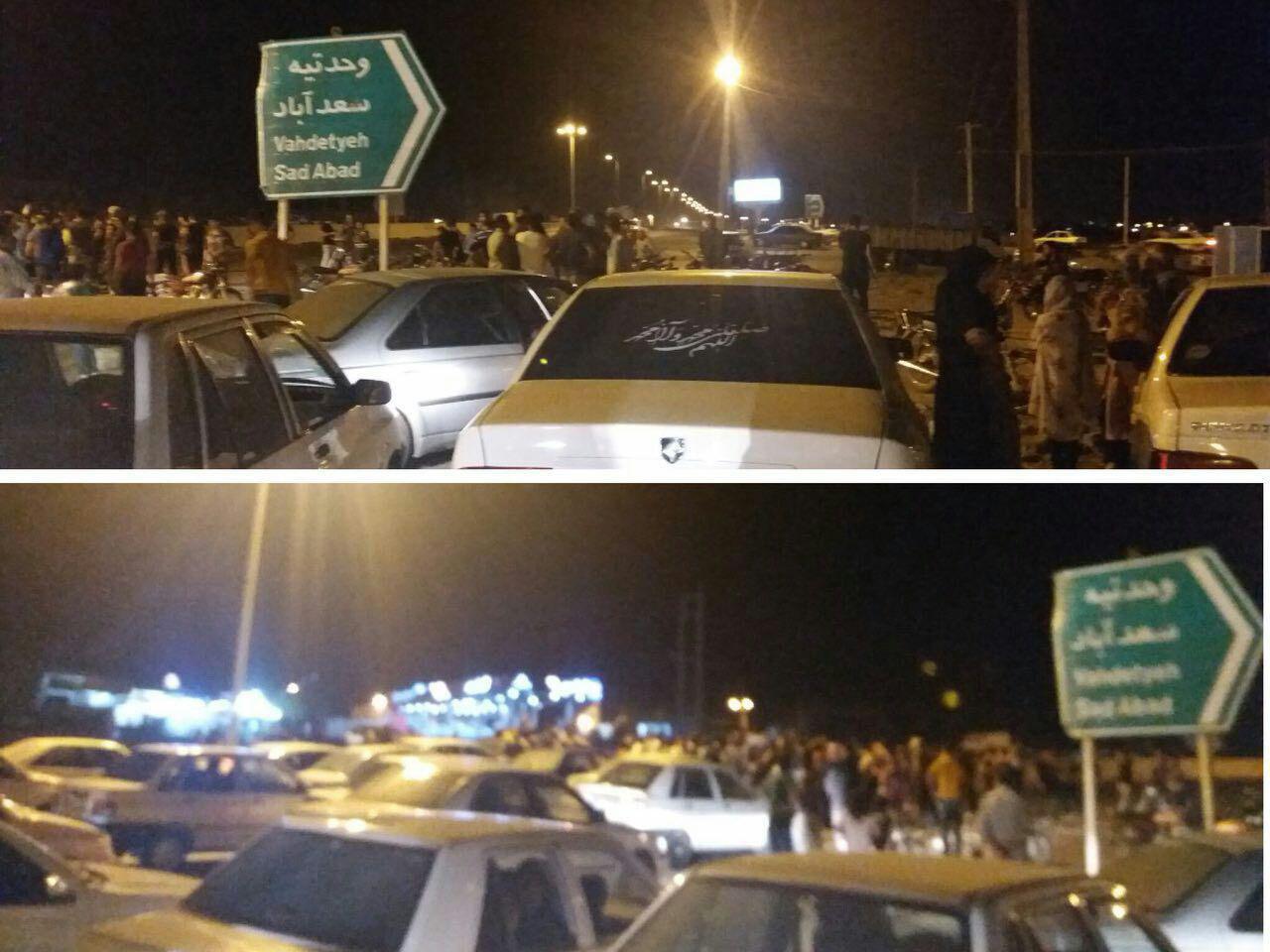 مسدود کردن سه راه وحدتیه توسط مردم شیراز در اعتراض به قطع مکرر آب و برق – ۲۹ تیر ۹۷