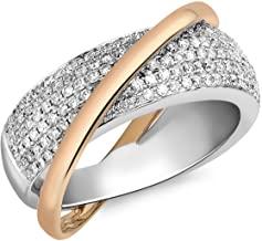 Vrouwen 18 ct Twee Kleur Goud 1.00 ct Diamond Pave Set Crossover Ring