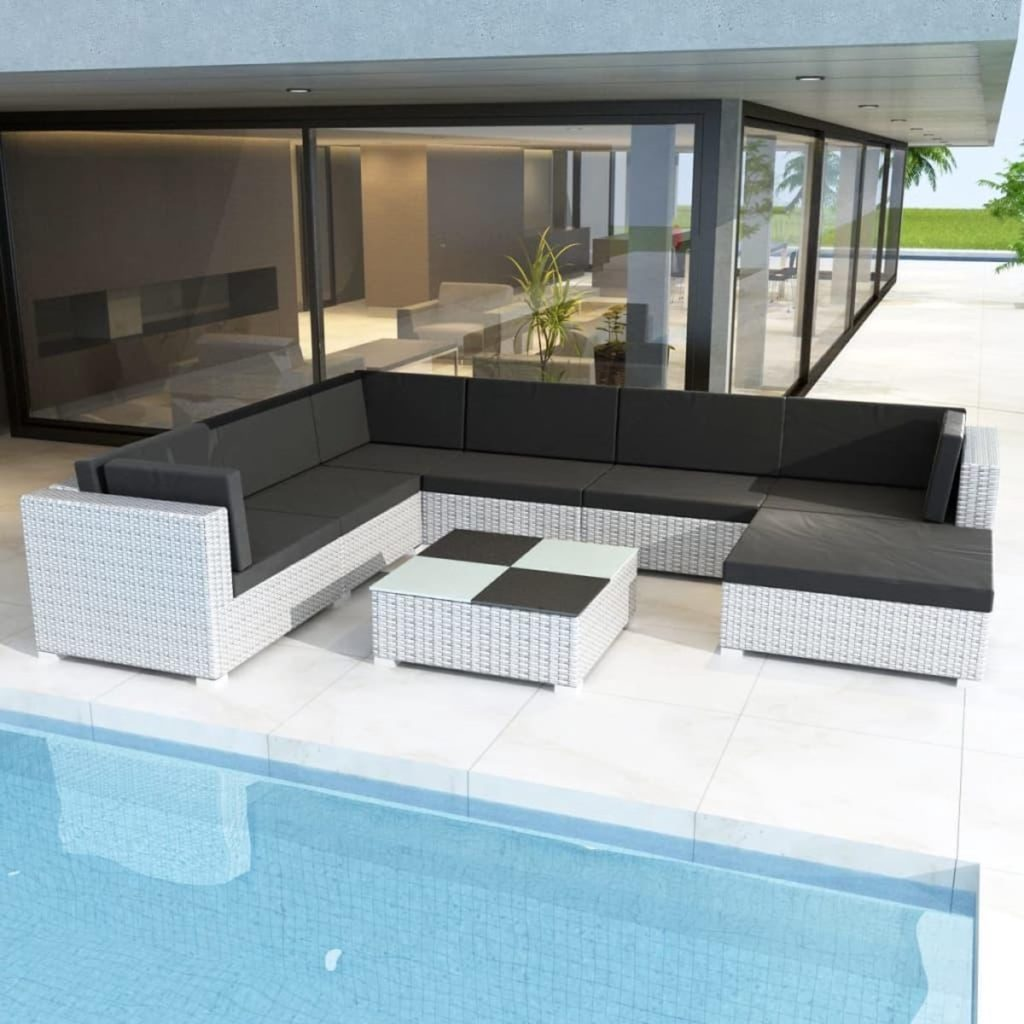 Poly Rattan loungeset 24-delig wit