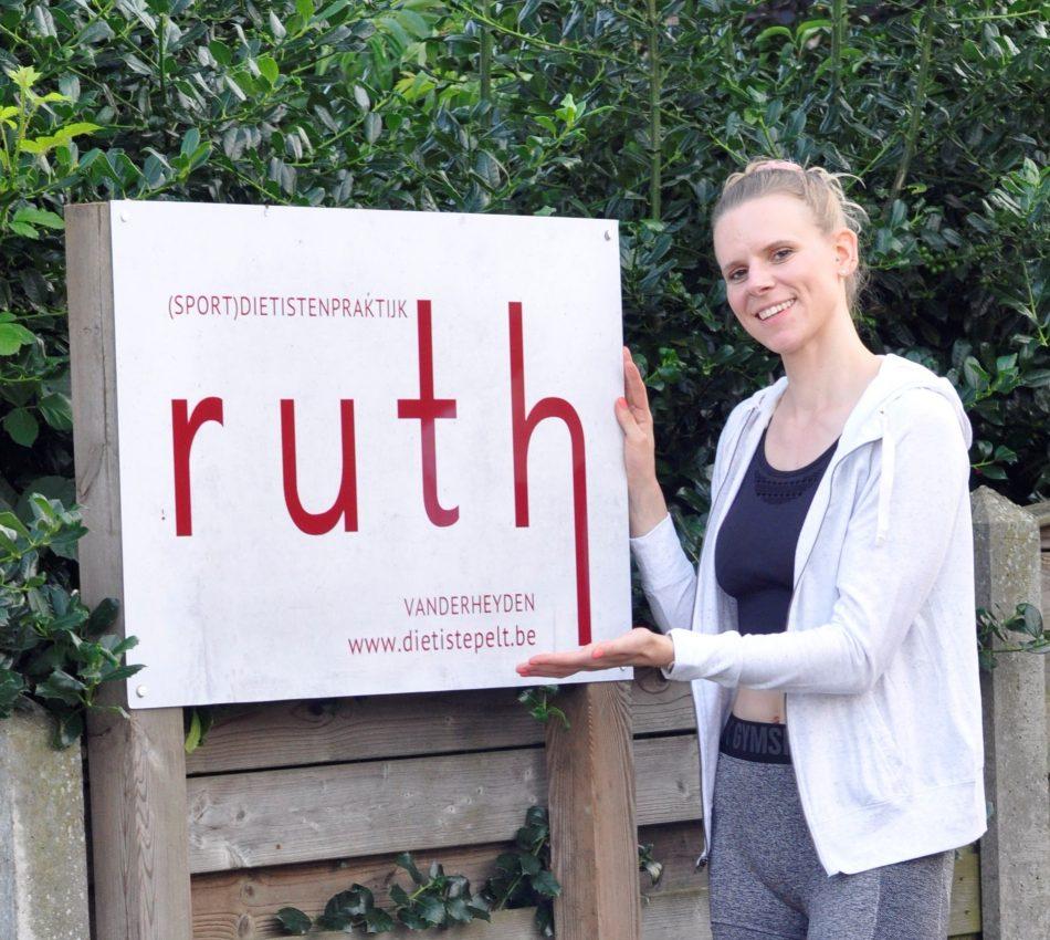 logo, diëtiste Ruth Vanderheyden, Pelt, bord met logo, diëtistenpraktijk, praktijk, voedingsadvies, beweging, mindset