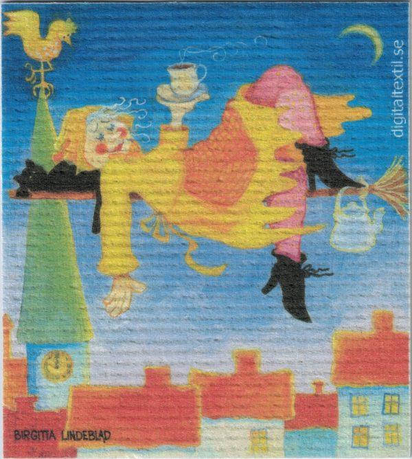 Disktrasa med motiv av mot blåkulla Birgitta Linderholm