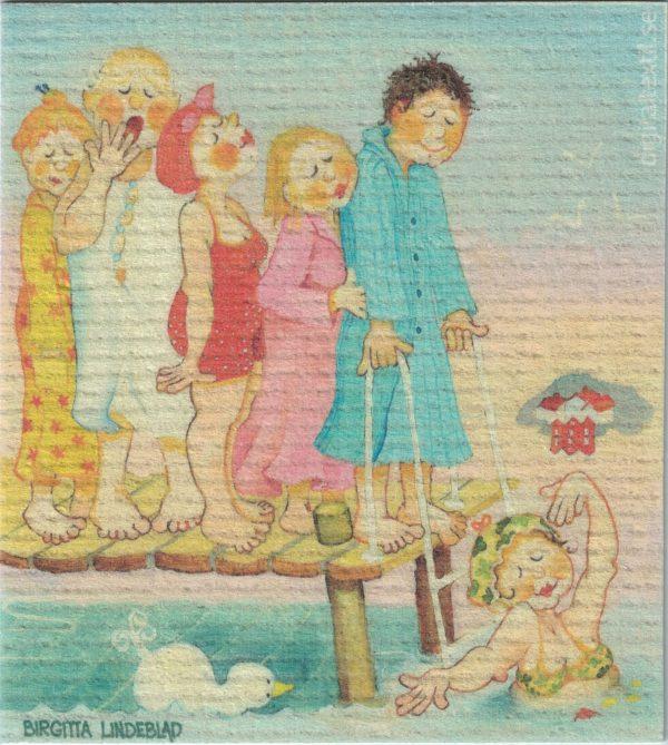 Disktrasa med motiv av Morgondoppskön Birgitta Linderholm