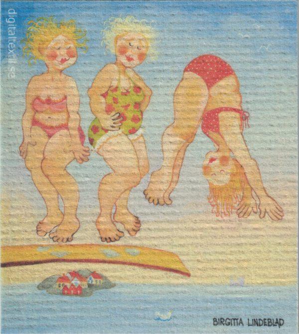 Disktrasa med motiv av Simhopparna Birgitta Linderholm