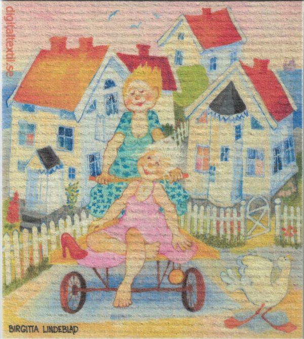 Disktrasa med motiv av Sommargäster Birgitta Linderholm