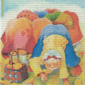 Disktrasa med motiv av Kantarellmadammer Birgitta Linderholm
