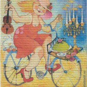 Disktrasa med motiv av Hipp hurra Birgitta Linderholm