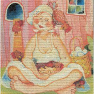 Disktrasa med motiv av Hönsmamma Birgitta Linderholm