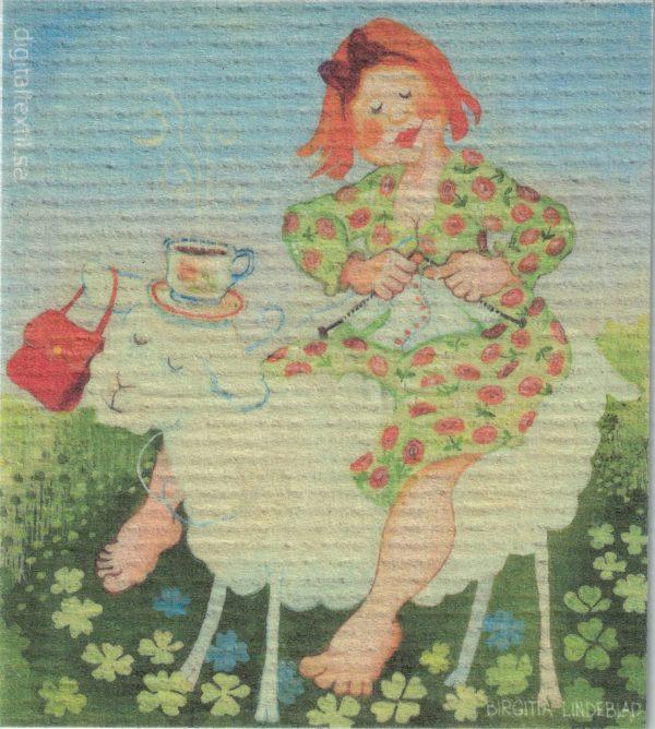 Disktrasa med motiv av stickelisa Birgitta Linderholm