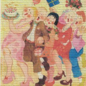 Disktrasa med motiv av med en enkel tulipan Birgitta Linderholm