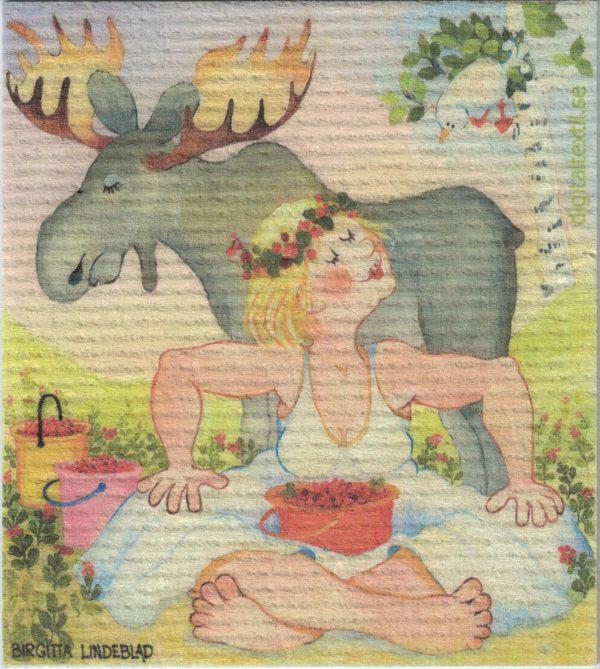 Disktrasa med motiv av hejsvejs i lingonskogen Birgitta Linderholm