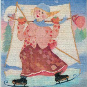 Disktrasa med motiv av Skridskosegling Birgitta Linderholm