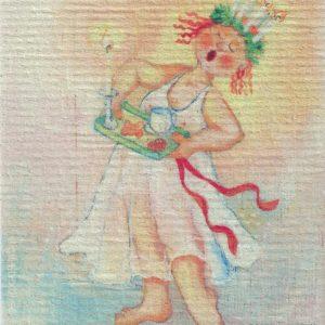 Disktrasa med motiv av Lusselelle Birgitta Linderholm