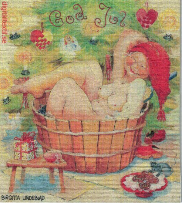 Disktrasa med motiv av Julbadet Birgitta Linderholm