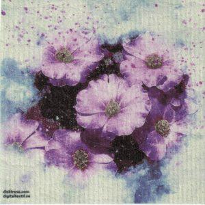 Disktrasa med motiv av lila blommor målad Kjell Mari Ekvall