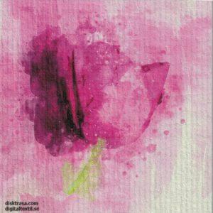 Disktrasa med motiv av rosa tulpan målad Kjell Mari Ekvall