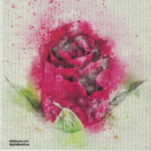 Disktrasa med motiv av rosa ros målad Kjell Mari Ekvall