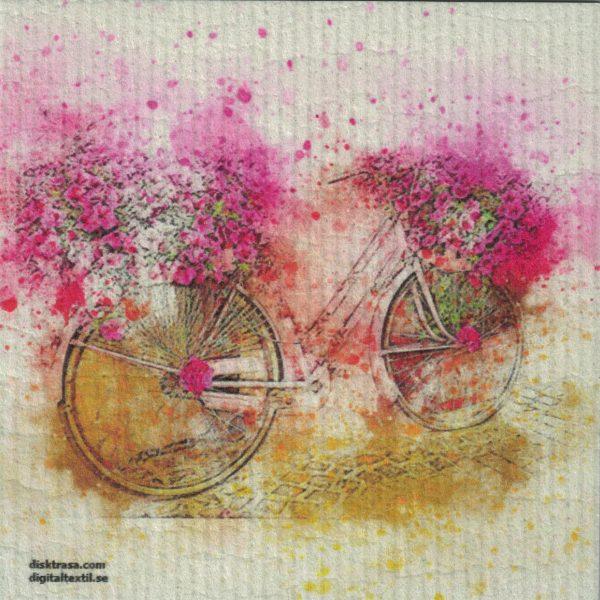 Disktrasa med motiv av rosa cykel målad Kjell Mari Ekvall