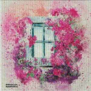 Disktrasa med motiv av rosa fönster målad Kjell Mari Ekvall