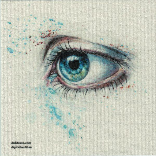 Disktrasa med motiv av blått öga målad Kjell Mari Ekvall