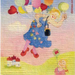 Disktrasa med motiv av Ballongtanten Birgitta Lindeblad