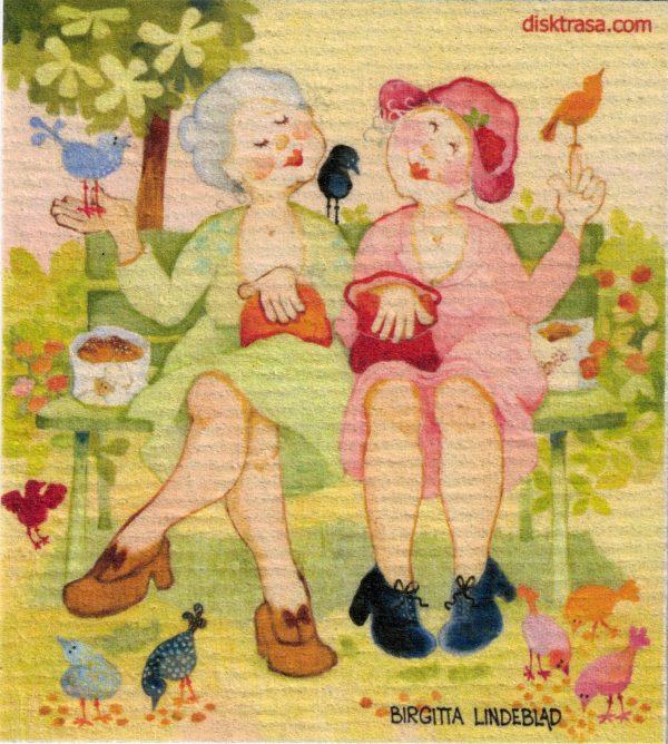 Disktrasa med motiv av Pensionärsliv Birgitta Lindeblad