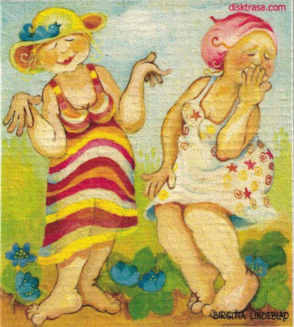 Disktrasa med motiv av Väninnor Birgitta Lindeblad