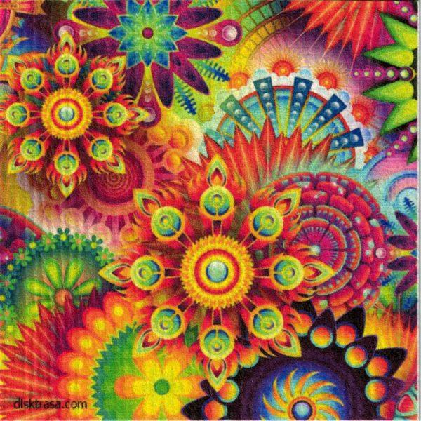 Disktrasa med motiv av alla färger på en gång Kjell Mari Ekvall
