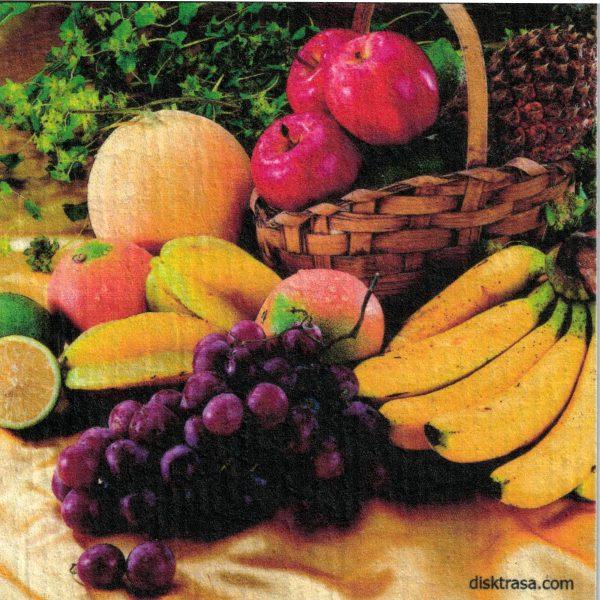 Disktrasa med motiv av fruktkorg Kjell Mari Ekvall