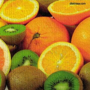 Disktrasa med motiv av apelsin Kiwi Kjell Mari Ekvall