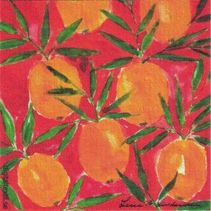 Disktrasa med motiv av apelsiner Lena Linderholm