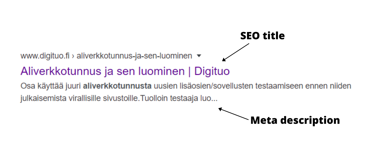 Meta description ja title