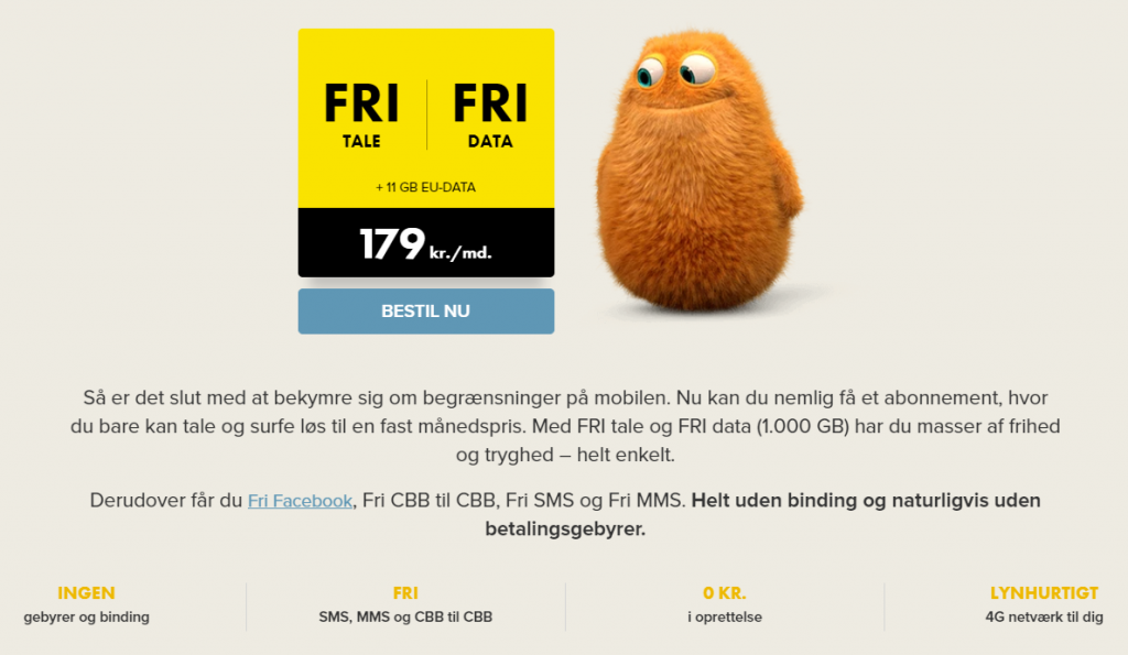 CCB mobilabonnement med fri tale og data