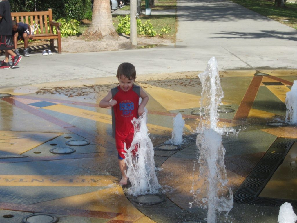 Kids have fun at the splash park in Celebration Florida