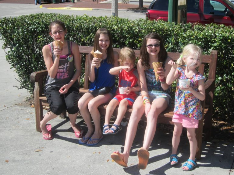 Kids Eating Ice Cream in Celebration Florida