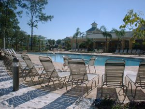 pool loungers by restaurant at Bahama Bay Resort & Spa Orlando Florida