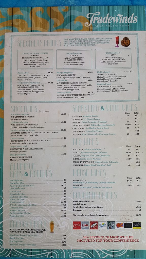 Tradewinds Restaurant Menu Drinks