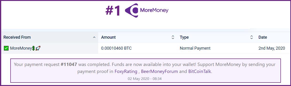 moremoney pagamento