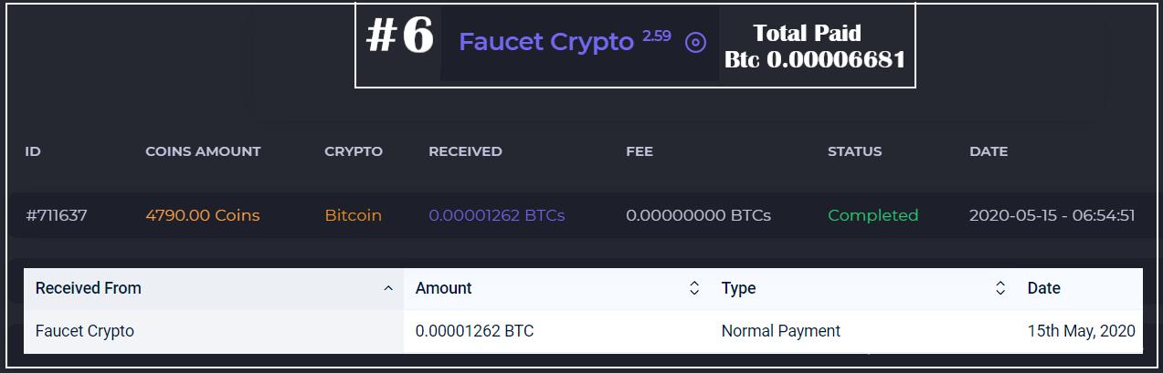 pagamento faucetcrypto
