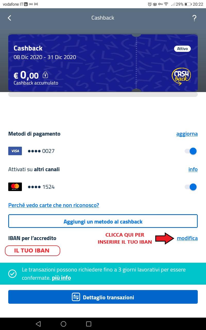 cashback di stato metodi di pagamento