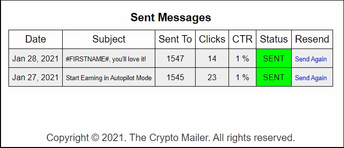 the crypto mailer: sent messages stats