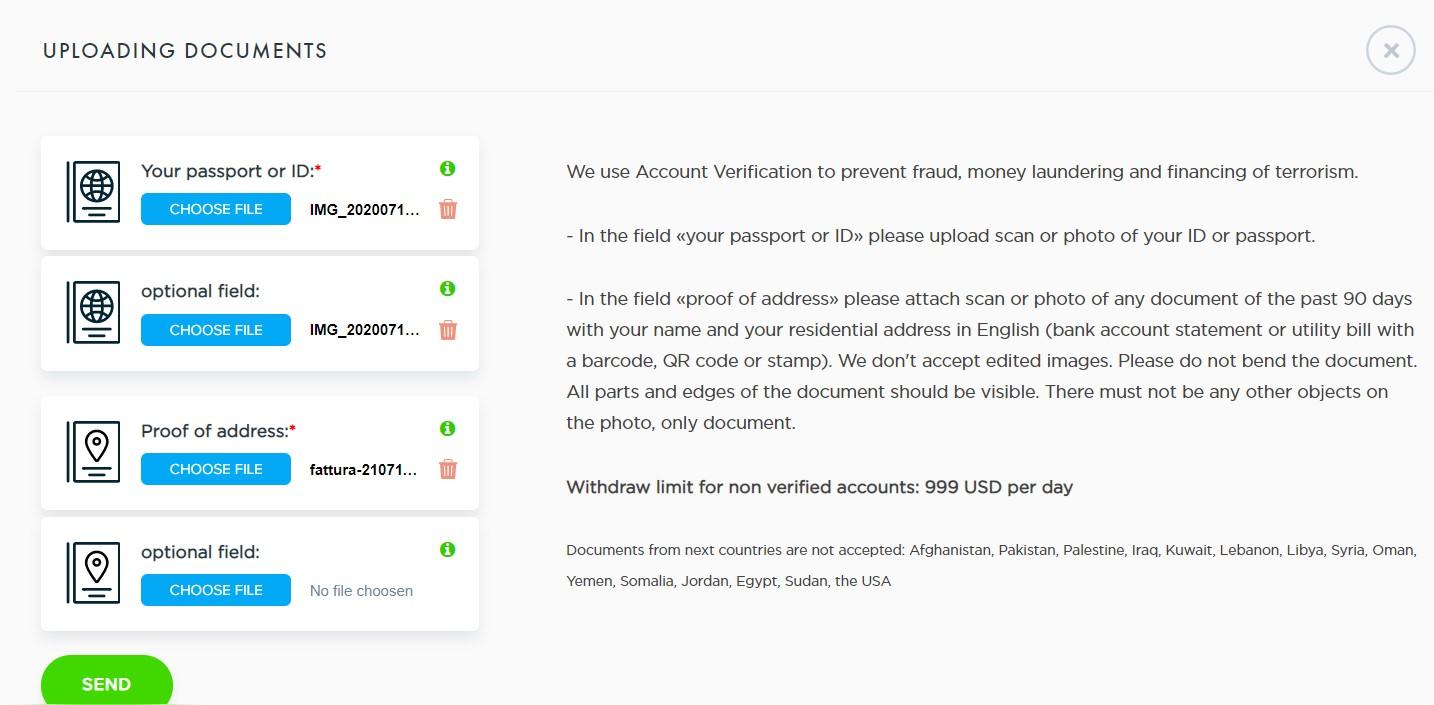 payeer inserimento documenti per verifica account