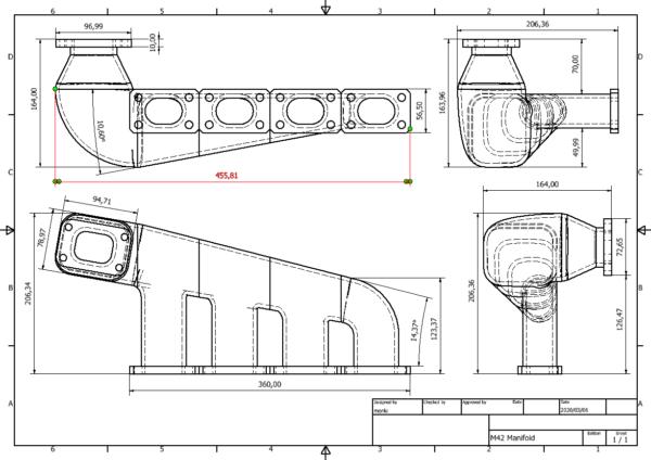 BMW m42/m44 Turbo Manifold Dimensions
