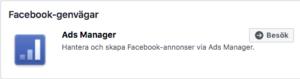 facebook ads manager genvägar