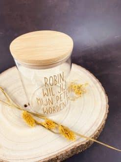 Glazen pot met bamboe deksel Wil jij mijn petermeter worden 13x10cm