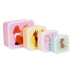 A Little Lovely Company Lunch & snack box set: Bosvriendjes